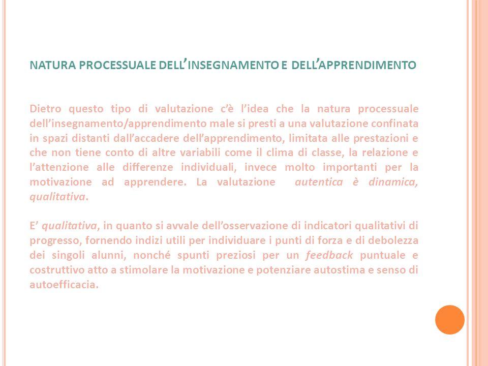 natura processuale dell'insegnamento e dell'apprendimento