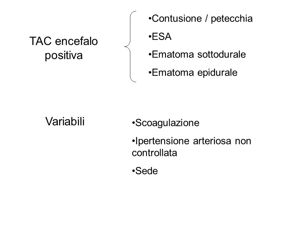 TAC encefalo positiva Variabili Contusione / petecchia ESA