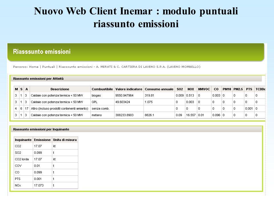 Nuovo Web Client Inemar : modulo puntuali
