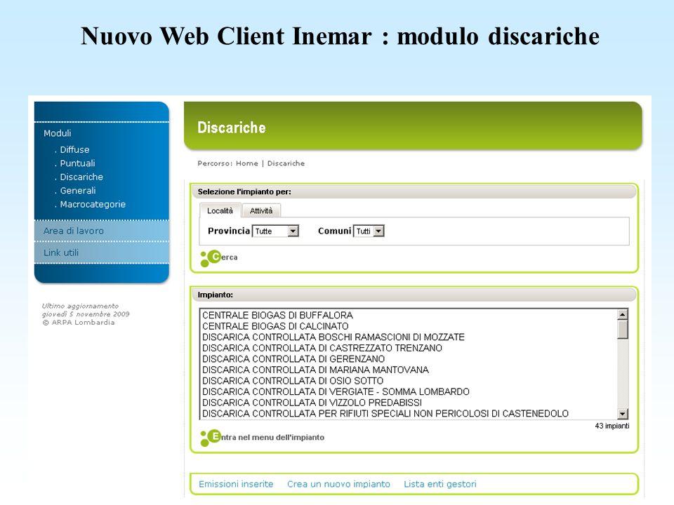 Nuovo Web Client Inemar : modulo discariche