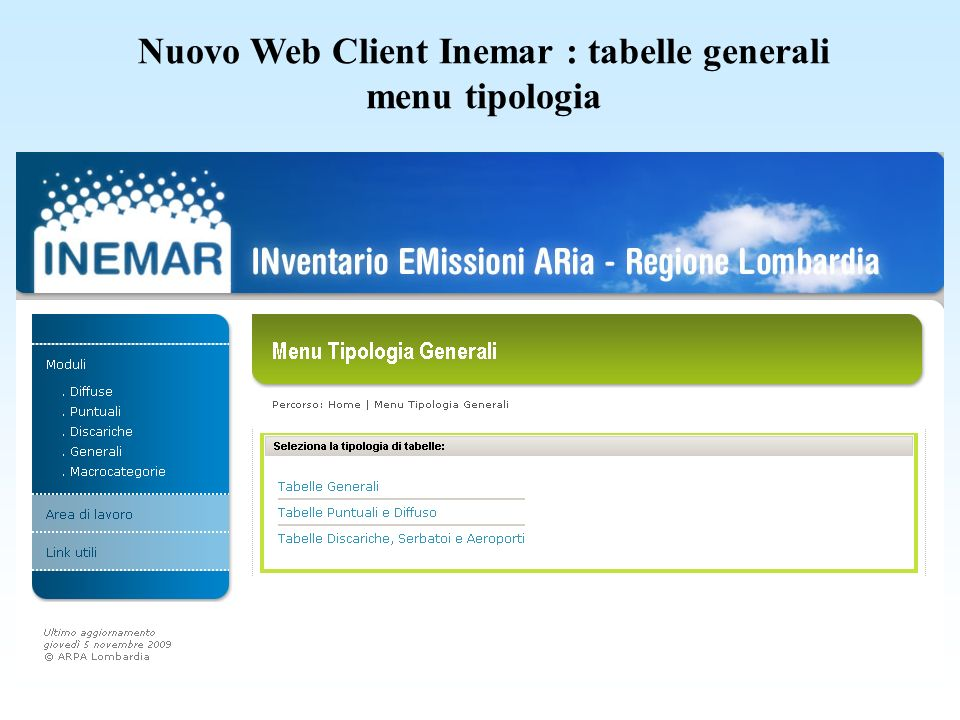 Nuovo Web Client Inemar : tabelle generali menu tipologia