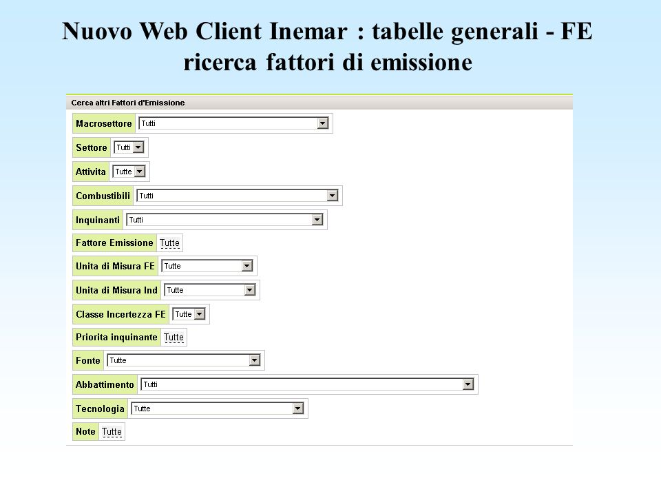 Nuovo Web Client Inemar : tabelle generali - FE