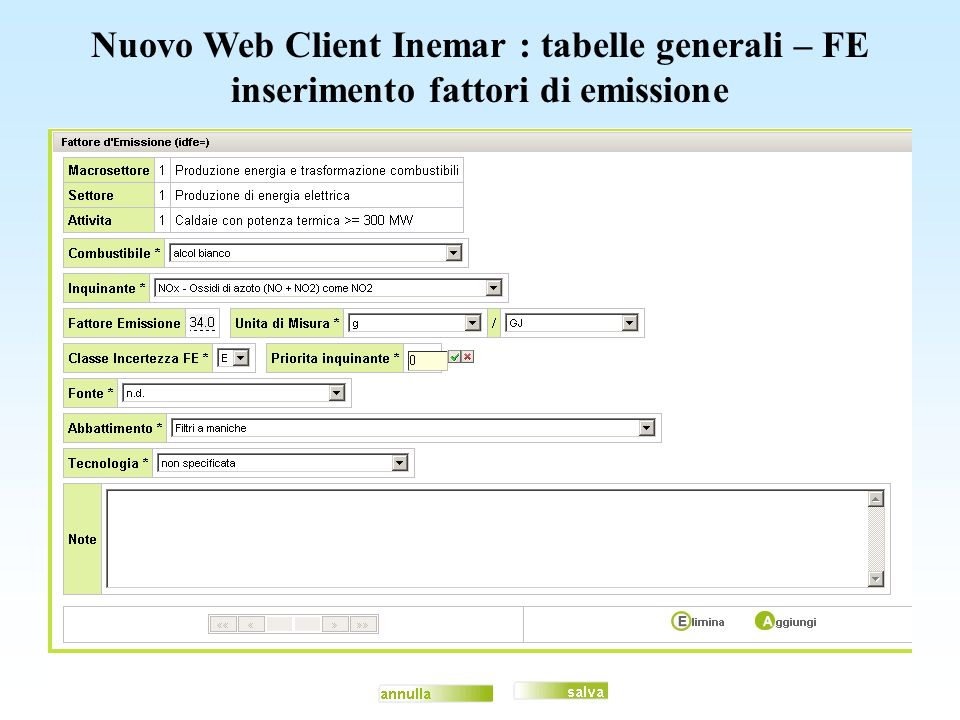 Nuovo Web Client Inemar : tabelle generali – FE