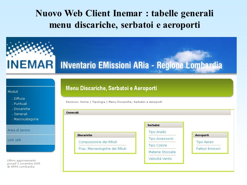 Nuovo Web Client Inemar : tabelle generali