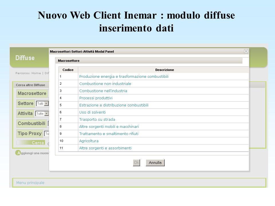 Nuovo Web Client Inemar : modulo diffuse inserimento dati