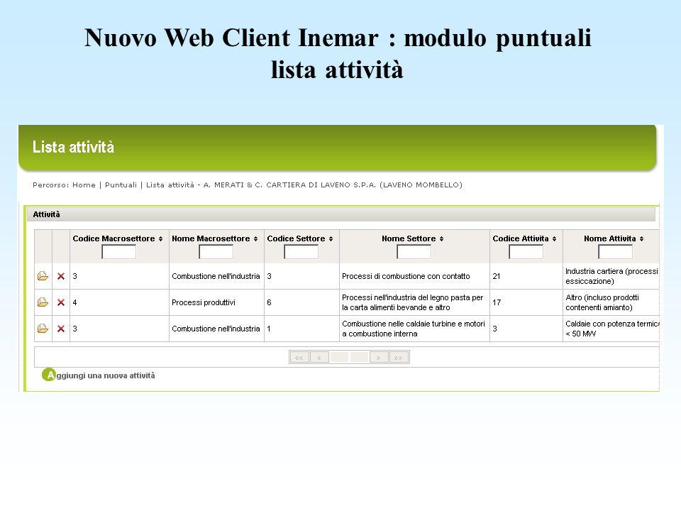 Nuovo Web Client Inemar : modulo puntuali lista attività