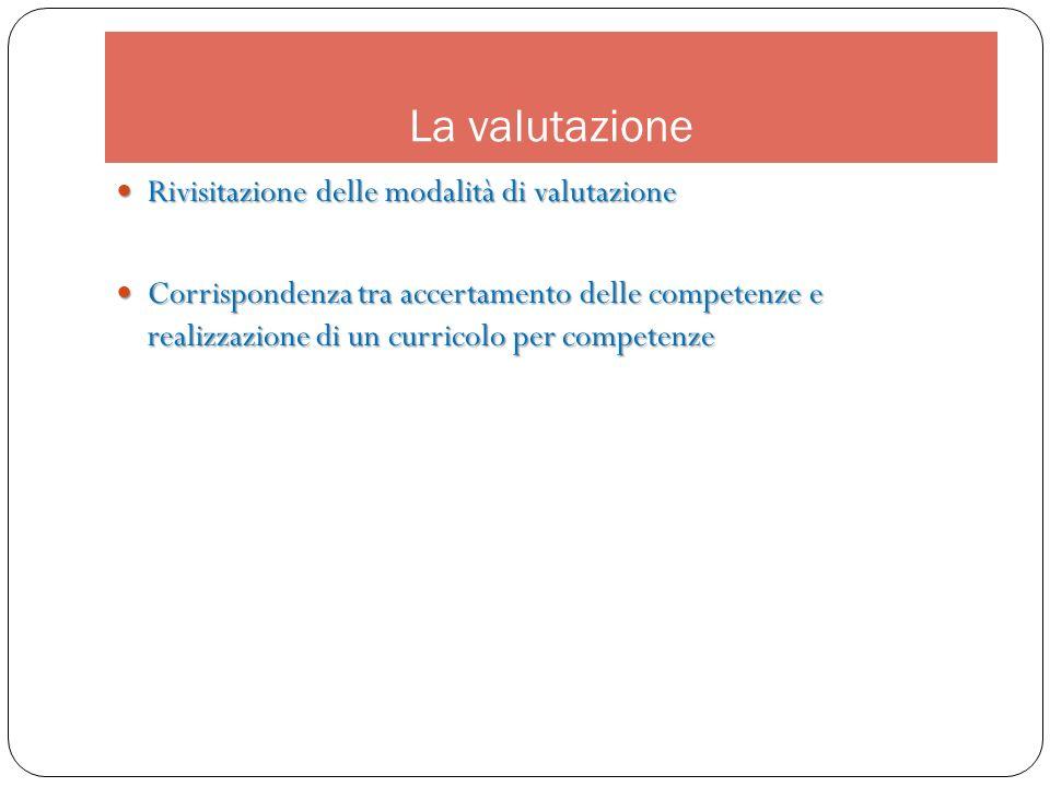 La valutazione Rivisitazione delle modalità di valutazione