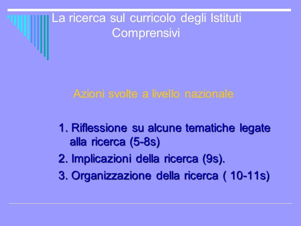 La ricerca sul curricolo degli Istituti Comprensivi
