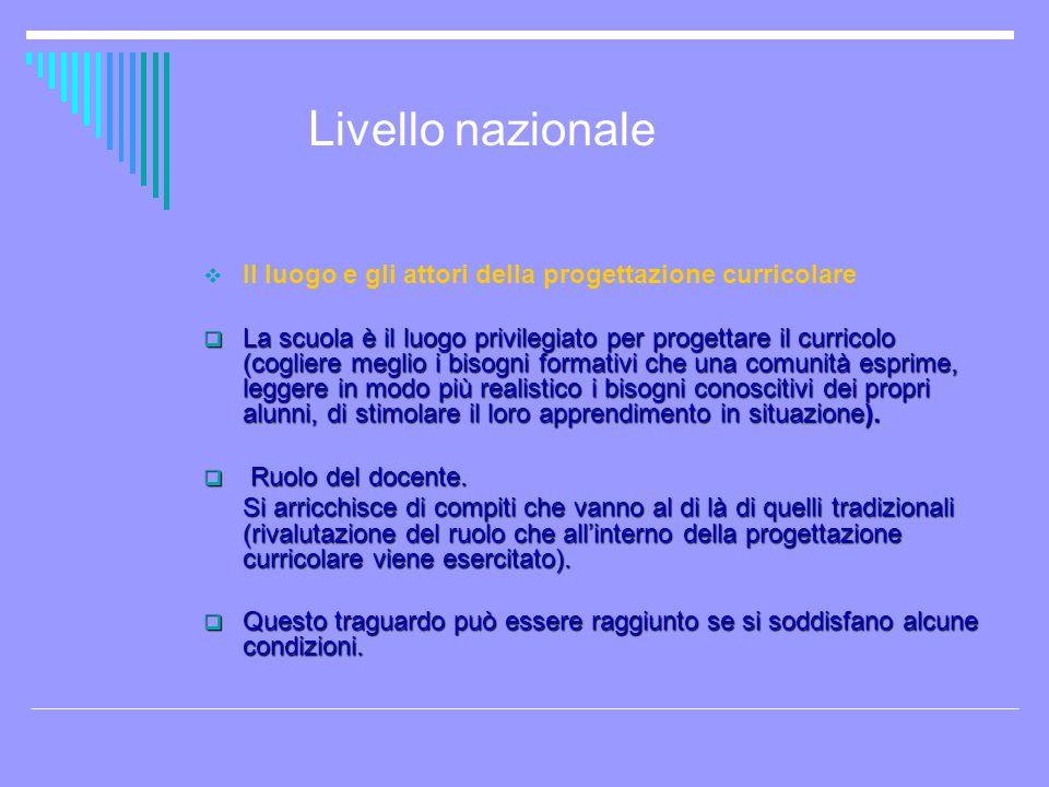 Livello nazionale Il luogo e gli attori della progettazione curricolare.
