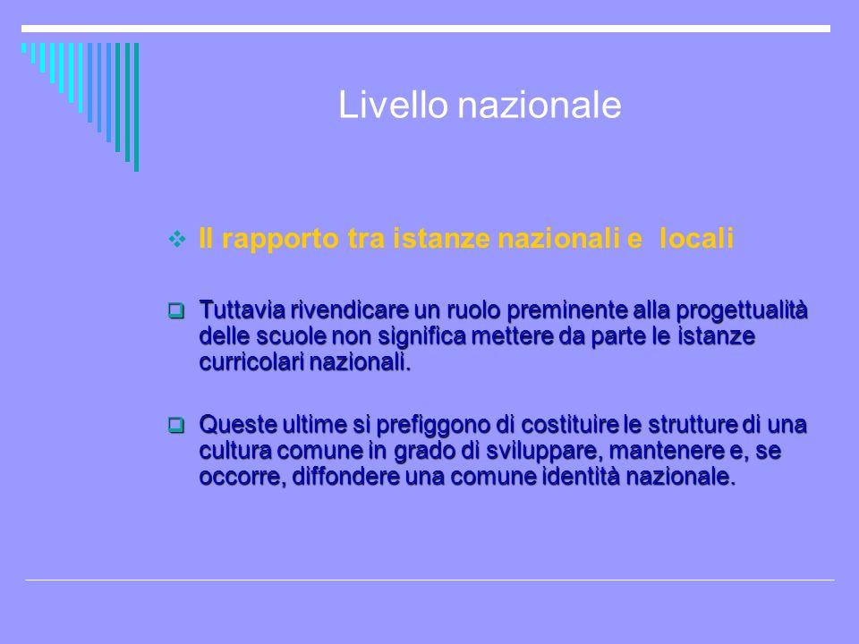 Livello nazionale Il rapporto tra istanze nazionali e locali