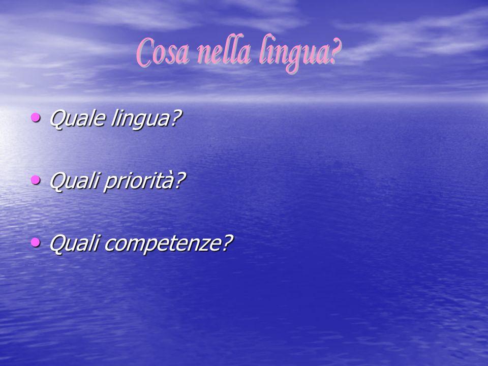 Cosa nella lingua Quale lingua Quali priorità Quali competenze