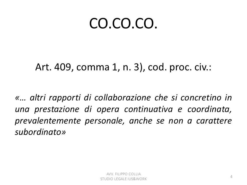 CO.CO.CO. Art. 409, comma 1, n. 3), cod. proc. civ.: