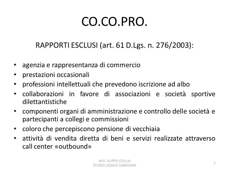 CO.CO.PRO. RAPPORTI ESCLUSI (art. 61 D.Lgs. n. 276/2003):