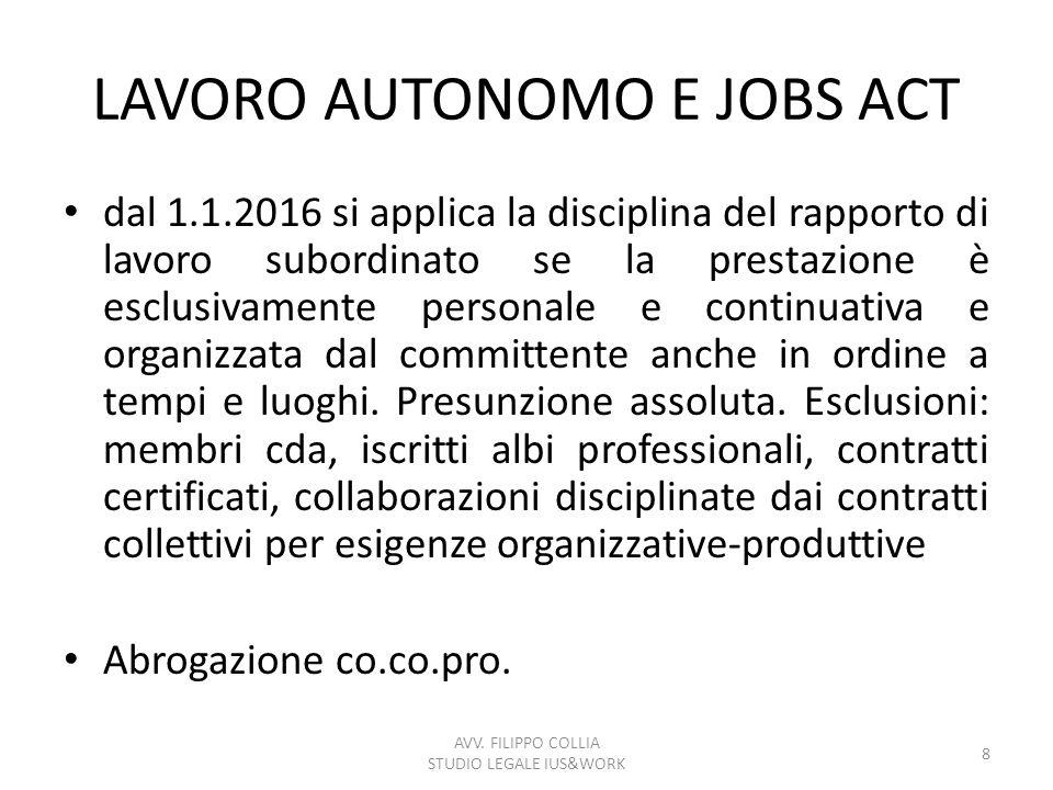 LAVORO AUTONOMO E JOBS ACT