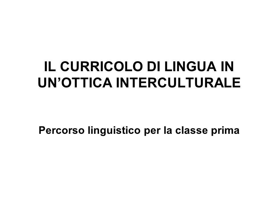 IL CURRICOLO DI LINGUA IN UN'OTTICA INTERCULTURALE Percorso linguistico per la classe prima