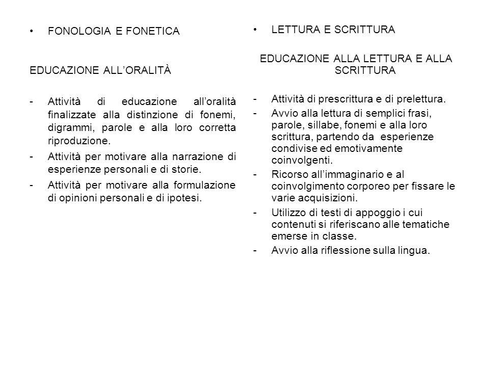 EDUCAZIONE ALLA LETTURA E ALLA SCRITTURA