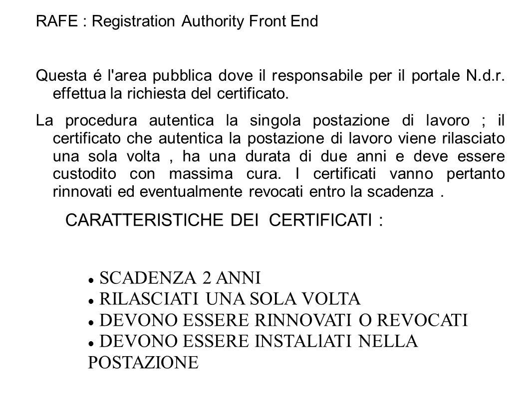 Fase 1 : Registrazione in RAFE