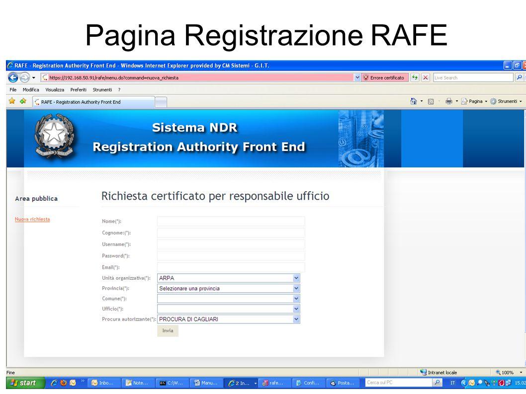 Pagina Registrazione RAFE