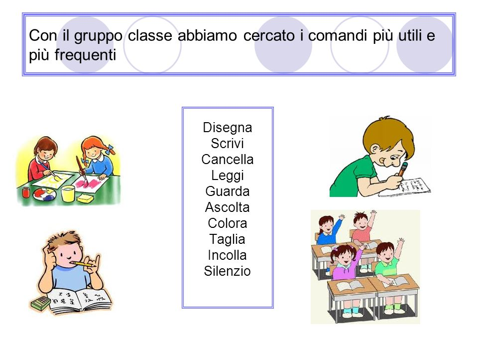 Con il gruppo classe abbiamo cercato i comandi più utili e più frequenti