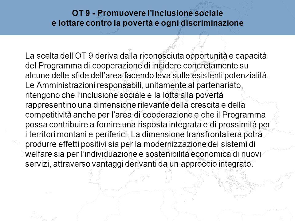 OT 9 - Promuovere l inclusione sociale
