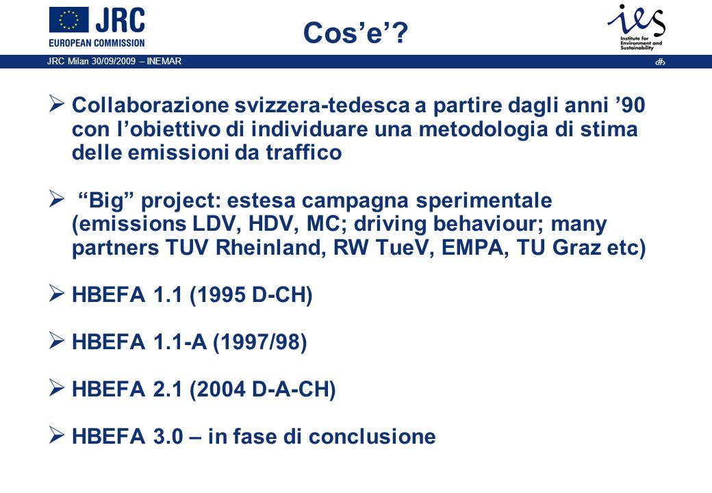 Cos'e' Collaborazione svizzera-tedesca a partire dagli anni '90 con l'obiettivo di individuare una metodologia di stima delle emissioni da traffico.