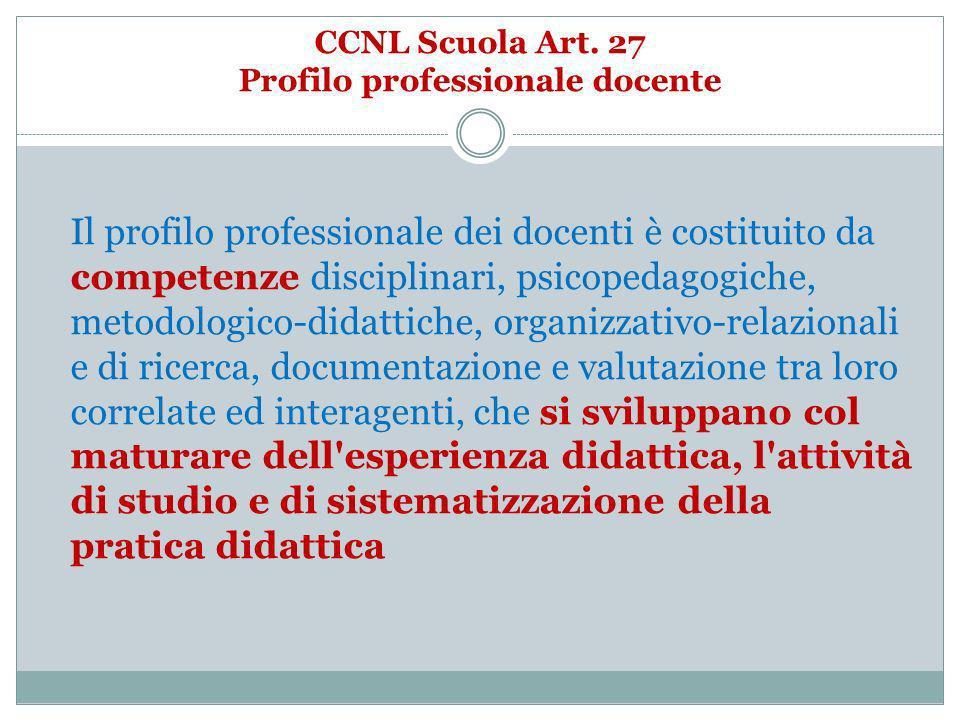 CCNL Scuola Art. 27 Profilo professionale docente