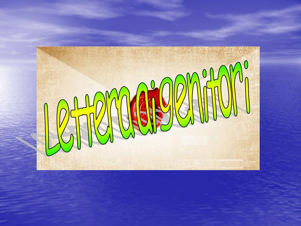 Lettera ai genitori