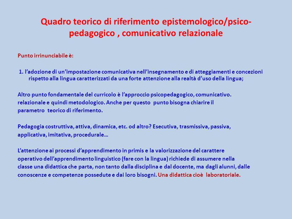 Quadro teorico di riferimento epistemologico/psico- pedagogico , comunicativo relazionale
