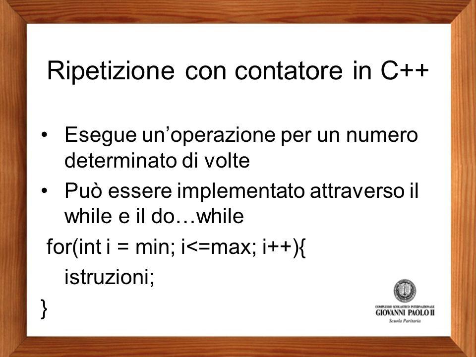 Ripetizione con contatore in C++