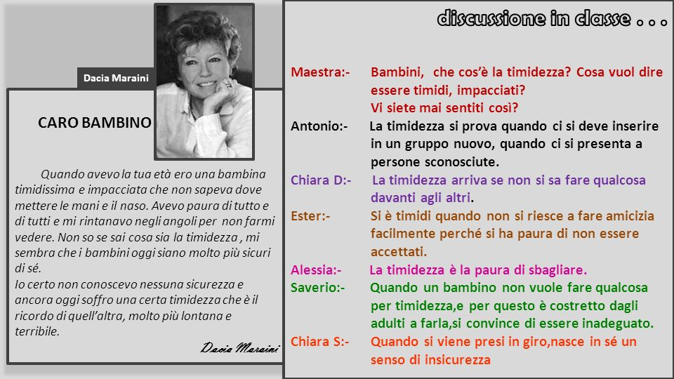 CARO BAMBINO discussione in classe . . .