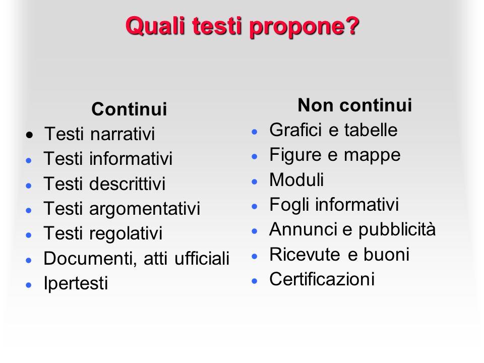Quali testi propone Non continui Continui Grafici e tabelle