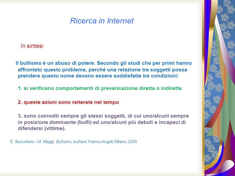 Ricerca in Internet In sintesi