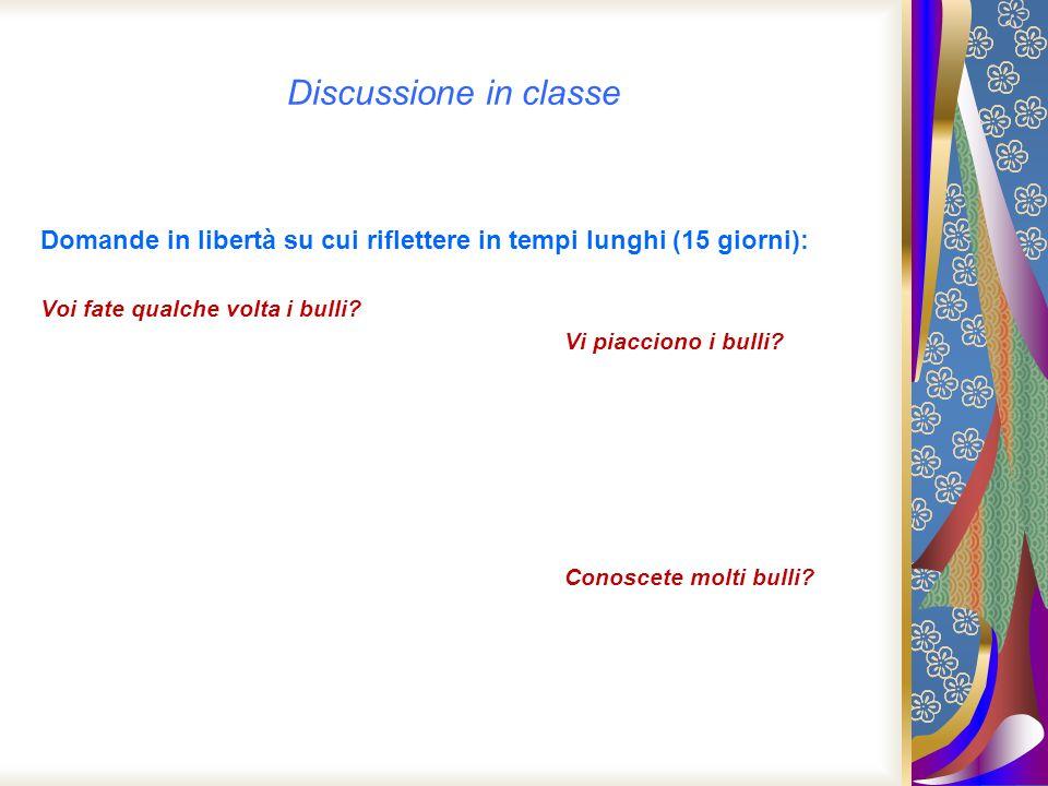 Discussione in classe Domande in libertà su cui riflettere in tempi lunghi (15 giorni): Voi fate qualche volta i bulli