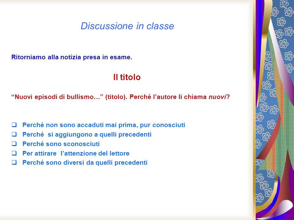 Discussione in classe Il titolo