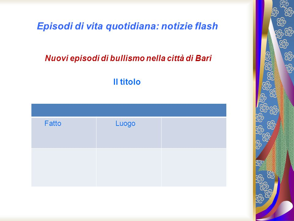 Episodi di vita quotidiana: notizie flash