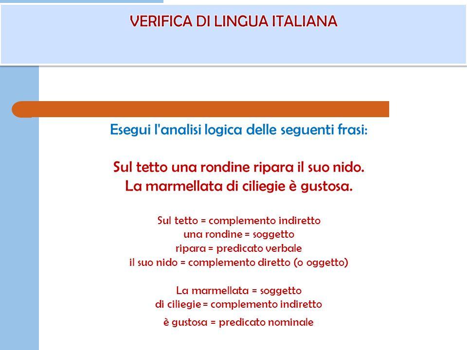 VERIFICA DI LINGUA ITALIANA