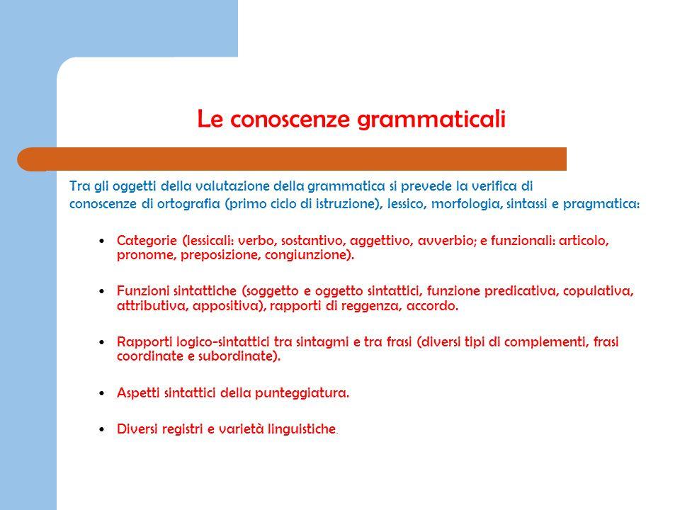 Le conoscenze grammaticali