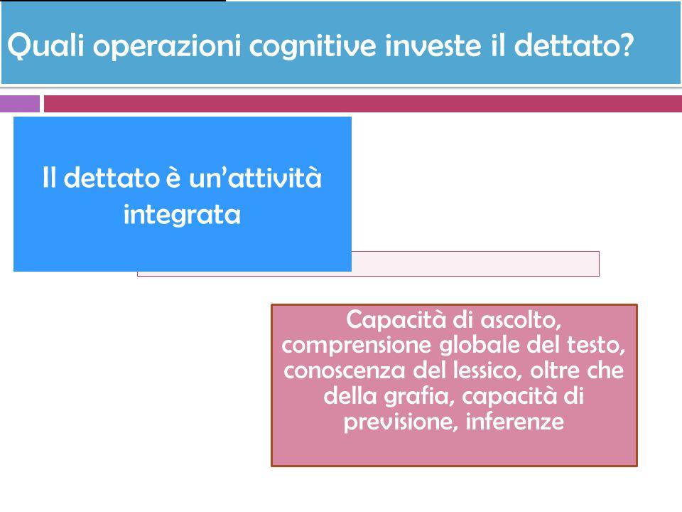Quali operazioni cognitive investe il dettato