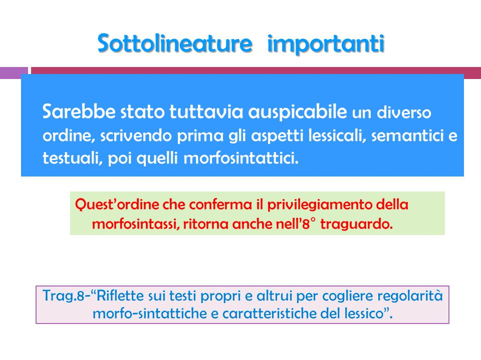 Sottolineature importanti
