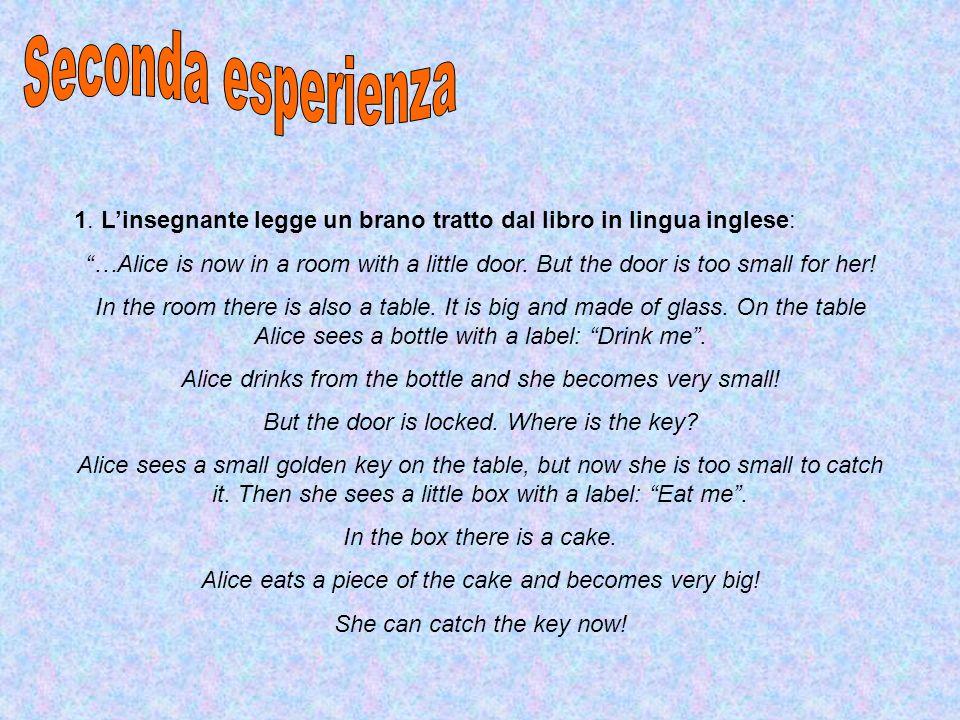 Seconda esperienza 1. L'insegnante legge un brano tratto dal libro in lingua inglese: