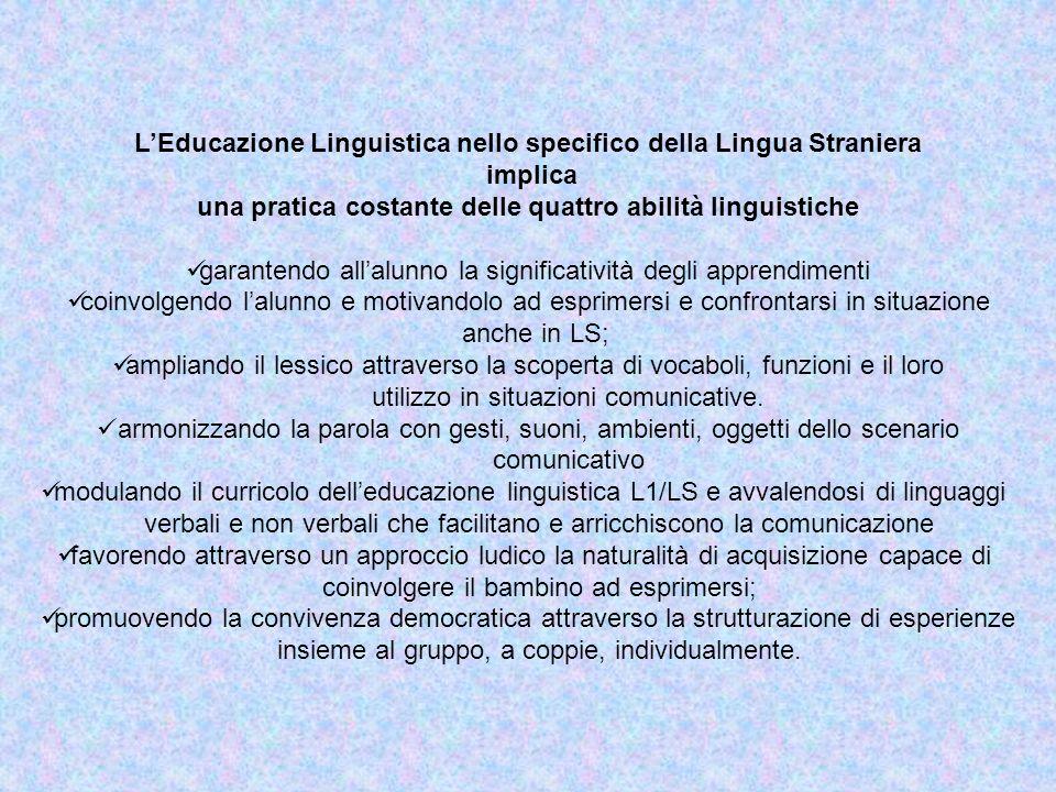 L'Educazione Linguistica nello specifico della Lingua Straniera