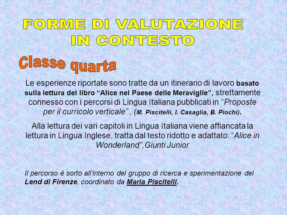 FORME DI VALUTAZIONE IN CONTESTO Classe quarta