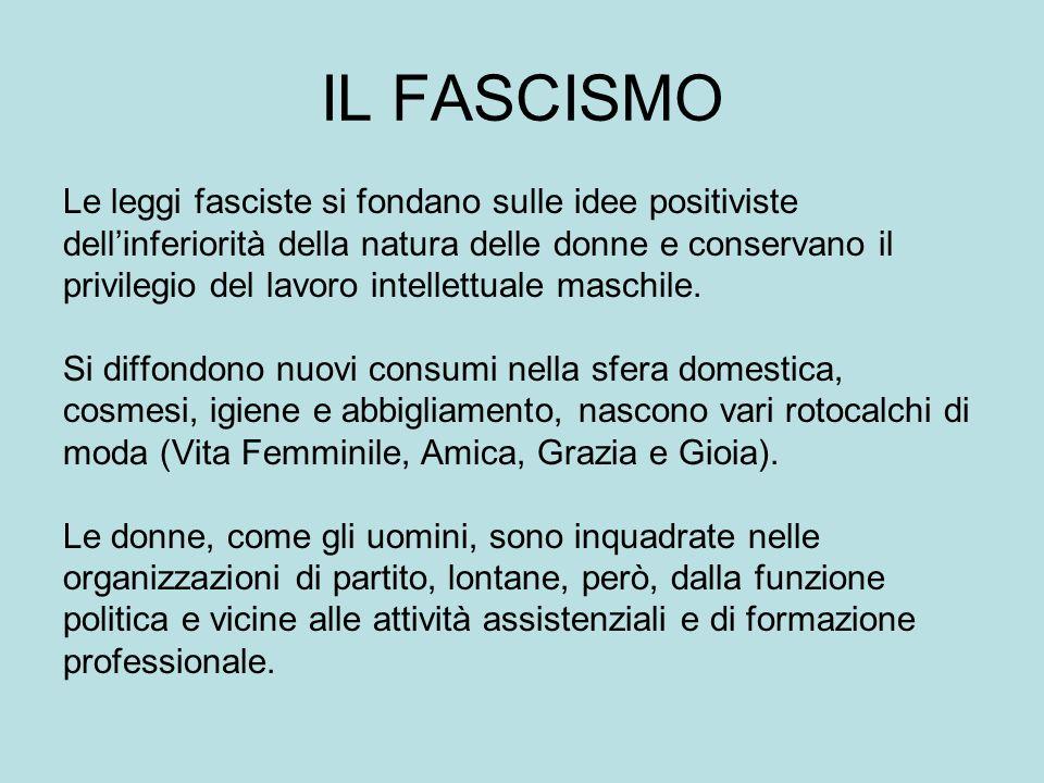 IL FASCISMO Le leggi fasciste si fondano sulle idee positiviste