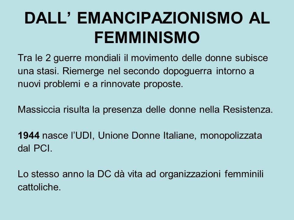 DALL' EMANCIPAZIONISMO AL FEMMINISMO