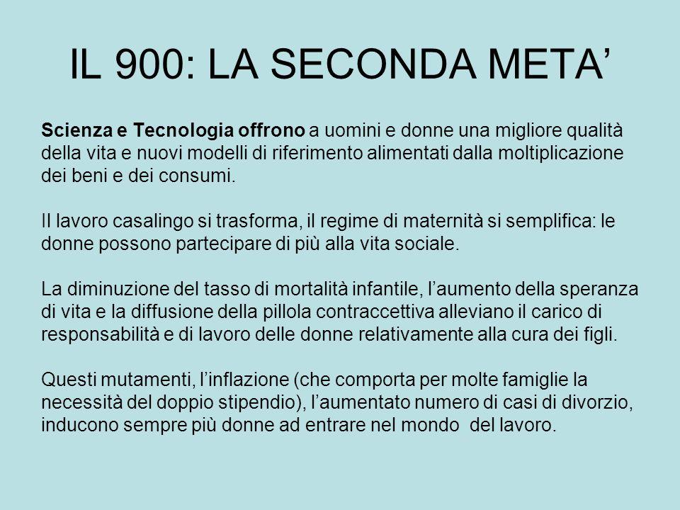 IL 900: LA SECONDA META' Scienza e Tecnologia offrono a uomini e donne una migliore qualità.