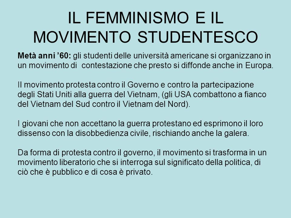 IL FEMMINISMO E IL MOVIMENTO STUDENTESCO