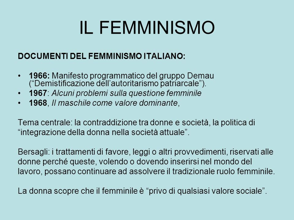 IL FEMMINISMO DOCUMENTI DEL FEMMINISMO ITALIANO: