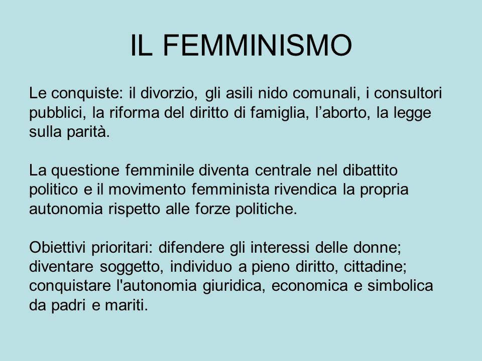 IL FEMMINISMO Le conquiste: il divorzio, gli asili nido comunali, i consultori. pubblici, la riforma del diritto di famiglia, l'aborto, la legge.