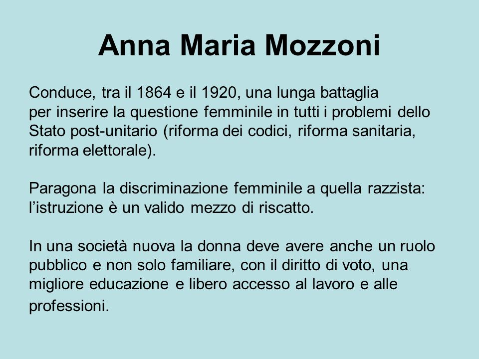 Anna Maria Mozzoni Conduce, tra il 1864 e il 1920, una lunga battaglia