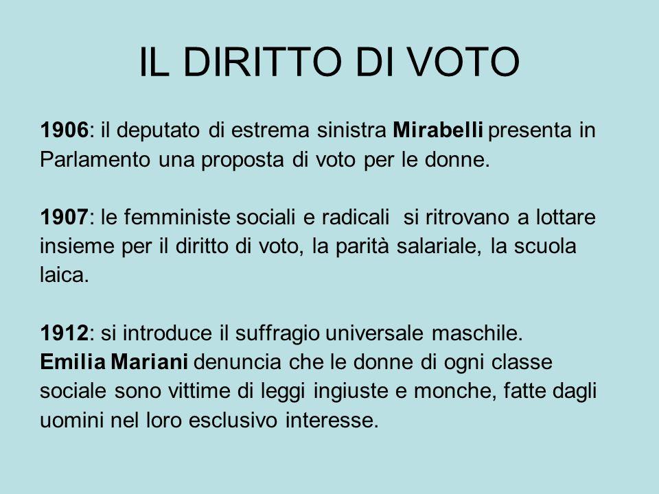 IL DIRITTO DI VOTO 1906: il deputato di estrema sinistra Mirabelli presenta in. Parlamento una proposta di voto per le donne.